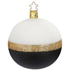 Christbaumkugel Ø 8cm, Twin porzellanweiß / schwarz Inge-Glas® Manufaktur Weihna
