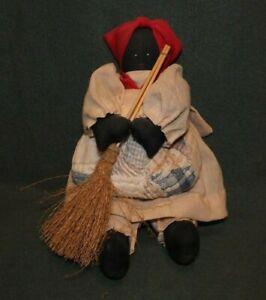 Vintage Black Rag Doll Hand Made 10 Inch Folk Art