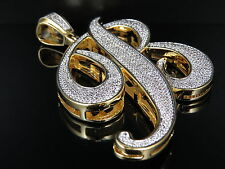 Yellow Gold Finish Over Brass Letter B Lab Diamond Pave Set Charm Pendant 3.3""