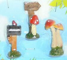 Set o 3 Fairy Garden~Spotted Mushrooms~Welcome~Mailbox ~Cardinal~Resin Figurines