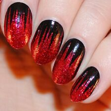 Hocus Pocus Glitter Red Black Spikes Pattern Nail Wraps