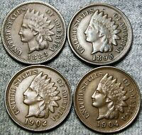 1883 1895 1902 1904 Indian Cent Penny  ---- Nice Lot  ---- #H903