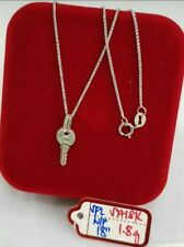Gold Authentic. 18k white gold key necklace 18 inches chain,,