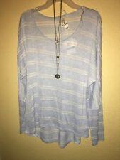 SELF STEEM Blouse Blue White Striped With necklace Size XL •New
