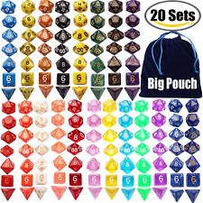 Outee 140 Pcs Polyhedral Dice Game Dice, 20 Complete Sets of d20, d12, 2 d10 (00