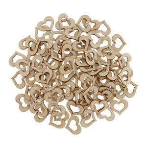 100x Cut Heart Shaped Natural Wood Ornament Craft Wedding Decorations Favors