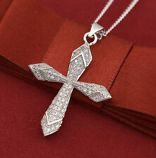 9K WHITE GOLD GF VINTAGE CROSS CRUCIFIX CRYSTAL MEN WOMEN SOLID PENDANT NECKLACE