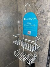 Bathroom 2-tier shower caddy basket, suction and free hanging organiser basket