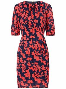 Whistles Jocelyn Blotted Floral Bodycon Silk Dress Size UK 4 US 0