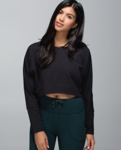 Lululemon Oh Hey Pullover Long Sleeve French Terry Crop Top Shirt Black 6 NEW!