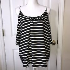 French Connection Woman's Black & Gray Stripes Cold Shoulder Blouse Top Size M