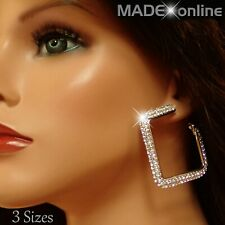 Large Square Hoop Earrings, Big Silver Sparkly Bling