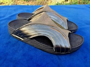 FITFLOP Wobble Board SILVER Leather Athletic Clogs Sandals Womens Shoes Sz 8