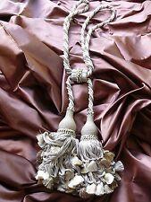"Scalamandre Vichy 100% Silk Double Tie Back ""Stone"" Neutrals Msrp$339 Each"