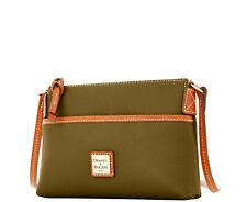 NWT Auth Dooney&Bourke Pebble Grain Ginger Pouchette Shoulder Bag Olive Org $138
