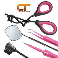 CT Eyelash Curlers, Extension Tweezers Straight Curved, Mirror, Comb, Tools Set