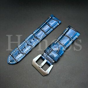 26MM LEATHER ALLIGATOR DIVER BAND STRAP FOR INVICTA EXCURSION 18202 WATCH BLUE