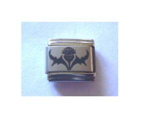 9mm talian Charms L80 Scotland Scottish Thistle  Fits Classic size Bracelet