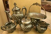 Vintage Homan 5pc Tea Set Quadruple Plate 819  Silver Plate # 46689 F Victorian