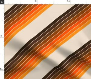 Retro 70S Mod Seventies Desert Candy Stripes Spoonflower Fabric by the Yard