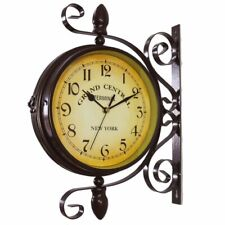 Nice Analog Wall Clock Two Sided Wrought Iron Black Industrial Vintage Steampunk