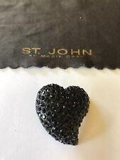 St John Knits Black Heart Button