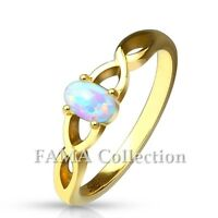 Fancy FAMA Oval Opal Set Casted Gold IP Stainless Steel Ring Size 5-9