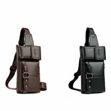 MenS' Leather Sling Pack Chest Shoulder Crossbody Bag Biker Satchel Waist Purse