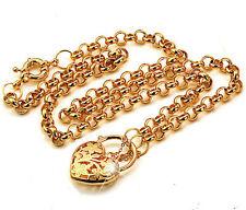 18k yellow gold filled filigree solid heart padlock belcher bolt necklace N003