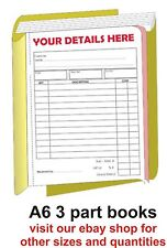 50 x PERSONALISED A6 Invoice/receipt  books ( 3part )