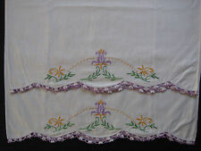 vintage pillowcase set, hand embroidery, pillow case, embroidered pillowcases 06