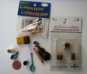 Lot 16 Vintage Dollhouse Miniature Violin, Candlesticks, NYT, Gifts, Rolling Pin
