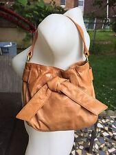 EUC KOOBA Mustard Glazed Lather Small Handbag Purse w/accent Bow