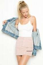 Last One! brandy melville pink fitted mini JULIETTE CORDUROY SKIRT NWT Sz XS/S