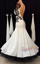 #B3078 Ballroom White Cocktail  Waltz Tango Prom US8 Dance Dress  Black Lace