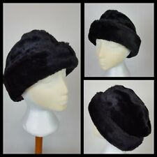 Vintage Black Faux Fur Hat Made in UK 22 Inches Unisex