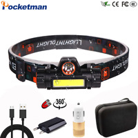 50000LM Portable Mini LED Headlamp T6+COB USB Rechargeable Headlight Head Torch