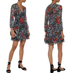 IRO Grey Red Floral Print Vera Georgette Mini Dress Size 38 V Neck Draped Womens