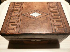 Antique inlaid box. Marquetry work on lid & front