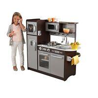 Gift Kitchen Uptown Espresso Pretend Play Set Wooden Refrigerator Kids Toddler