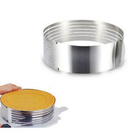 Adjustable Round Stainless Steel Mousse Cake Layered Slicer Cut Ring Mold EW