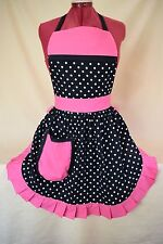 RETRO VINTAGE 50s STYLE FULL APRON / PINNY - BLACK & WHITE SPOT with PINK TRIM