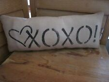 Primitive Stenciled Pillow - XOXO = heart - Valentine's Day