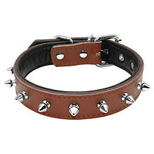 1 Row Spiked Studded Leather Dog Collars for Small Medium Dogs Red Pink Brown