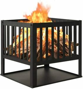Square Fire Pit Camping Heater Outdoor Garden Firepit Brazier Patio Outside