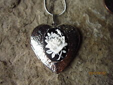 WHITE ROSE ON BLACK CAMEO SILVER PLATED HEART LOCKET, WEDDING, BRIDAL, HANDMADE