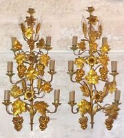 Large Antique FRENCH Pair Gilded Brass Wall Light Sconces with grapes vine 19TH