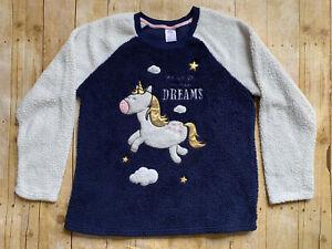 Women's 2X Secret Treasures Unicorn Sherpa Super Blue White Soft Sleep Shirt EUC