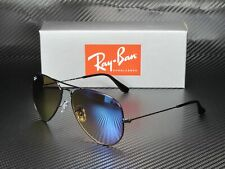 RAY BAN RB3025 002 4O Aviator Shiny Black Mirr Grad Blue 58 mm Men's Sunglasses