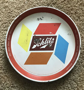 Vintage 1955 SCHLITZ  BEER METAL TRAY The Beer That Made Milwaukee Famous